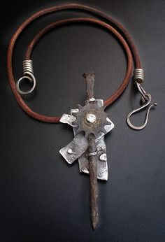 Richard Salley, industrial necklace: industrial pendant on leather cord Leather Jewelry, Metal Jewelry, Pendant Jewelry, Jewelry Art, Jewelry Accessories, Jewelry Necklaces, Jewelry Design, Coin Pendant, Leather Cord