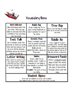 Freebie! Writing and Vocabulary Novel or Book Response Choice Board. Two different choice boards to provide differentiated options for your students to show their learning and thinking. One choice board has writing response prompts to respond to novels and the other has vocabulary responses.