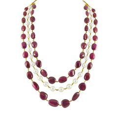 The 3 lines Ruby and South Pearl Gold Chain #pearl #gold #chain #jewellery #style #fashion