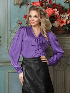 Sexy Blouse, Bow Blouse, Blouse And Skirt, Purple Pants, Purple Blouse, Real Leather Skirt, Leather Skirts, Satin Top, Silk Satin