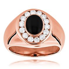Luxurman 14k Gold Men's 3/4ct Diamond and Black Onyx Ring (G-H, VS1-VS2) (Rose Gold Size 8.5), White
