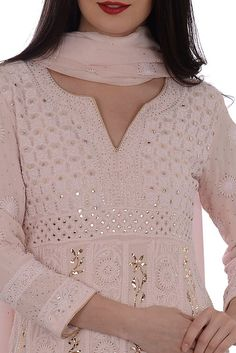 Nude Pink Chikankari With Kamdaani Anarkali Pure Georgette Suit Dress Indian Style, Indian Dresses, Indian Outfits, Kalamkari Dresses, Chikankari Suits, Indian Attire, Indian Wear, Kurta Designs, Blouse Designs