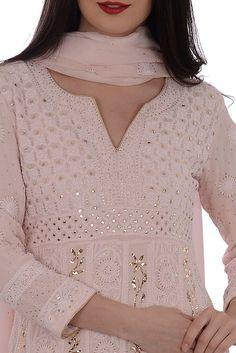 Nude Pink Chikankari With Kamdaani Anarkali Pure Georgette Suit Dress Indian Style, Indian Dresses, Indian Outfits, Kalamkari Dresses, Chikankari Suits, Indian Attire, Indian Wear, Kurta Designs, Blouse Designs