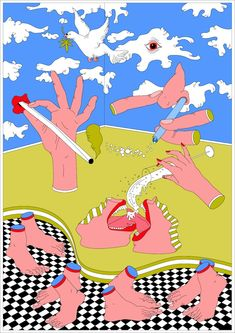 Johanna Walderdorff is back with more absurd illustrations Digital Illustration, Graphic Illustration, Graphic Art, Pop Art, Logos Retro, Hippie Art, Psychedelic Art, Surreal Art, Aesthetic Art