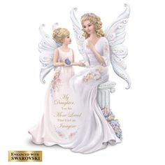 Limited-edition Lena Liu angel figurine with floral artwork, 43 hand-set Swarovski® crystals, glittery wings, loving sentiment, and more.