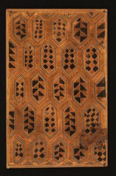 Shoowa man's status cloth. Raffia palm fiber, sten stitch and cut-pile embroidery.  Kuba Kingdom, DR Congo, late 19th or early 20th C.