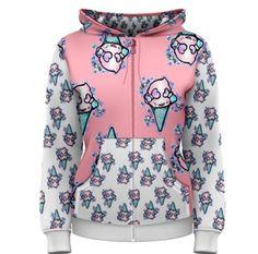 Womens Hoodie Zipper Zip Up XS - 3XL Includes Plus Size  - Ice Cream Creeper  - Kawaii Pastel Goth Fairy Kei Clothing  Creepy Cute Sweet by Pajamasquid on Etsy