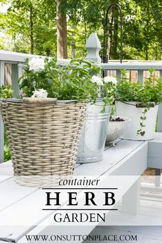 Plant a low maintenance #herb #garden in vintage containers. Use anything you have on hand from a vintage bucket to an old watering can!