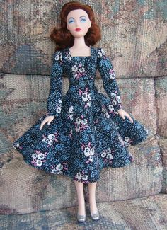 Gene Marshall 16 inch fashion doll in floral dress from free sewing pattern