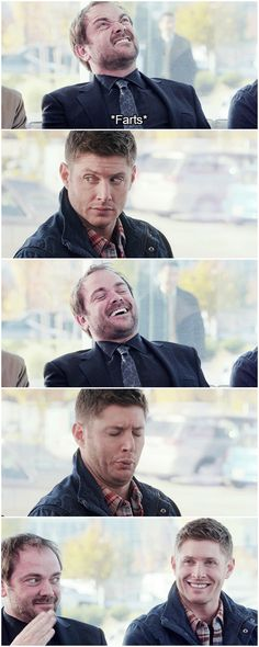 [gifset] Mark Stinking out Jensen :) Season 9 gag reel #SPN