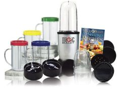 Magic Bullet MBR-1701 17-Piece Express Mixing Set 17-piece high-speed mixing system chops, whips, blends, and more. Includes power base, 2 blades, 2 cups, 4 mugs, 4 colored comfort lip rings, 2 sealed lids, 2 vented lids, and recipe book. Durable see-through construction