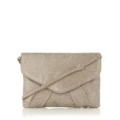 Debut Gold glitter envelope clutch bag- at Debenhams.com