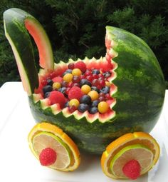 Baby shower food. Watermelon Baby Stroller food-decorating Want to try this