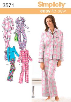 I like this pajama pattern (Simplicity 3571) because the pajama top has kimono sleeves, making it way easy to sew!