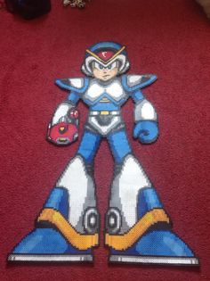 Megaman x3 full armor perler bead by RainierArtProjects on Etsy