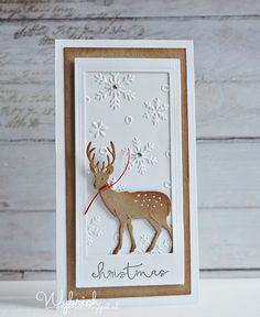 Another great kraft and white card. Christmas Gift Baskets, Handmade Christmas, Christmas Crafts, Cas Christmas Cards, Holiday Cards, Birthday Greeting Cards, Greeting Cards Handmade, Marianne Design Cards, Snowflake Cards