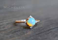 14/18K Opal Aurora Ring, Gold Ethiopian Fire Opal Engagement Ring, Promise Ring…