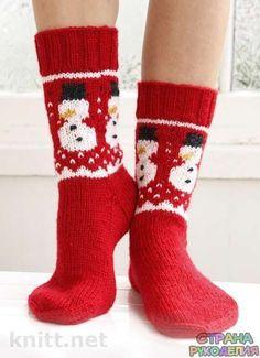 Новогодние носочки со снеговиками - Носки,тапочки - Вязание спицами - Рукоделие