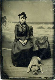 "Little Pit Bull and his human young lady having the requisite holiday tintype done  ""seaside tintype"" 