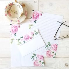 Pink Roses Digital Stationery Set 8.5 x 11  Printable  Writing Paper with Envelope - Unlined and Lined Note Paper - Instant Digital Download