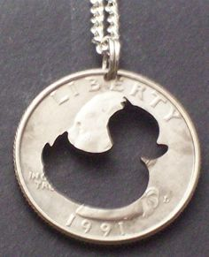Duck Rubber Ducky Hand Cut Coin Jewelry by bongobeads on Etsy, $9.95