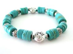 Beaded stretch bracelet / handmade bracelet / by RockAndHardware,