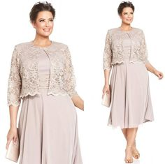 2015 Plus Size Nude Lace Mother of the Bride's Dress with 3/4Long Sleeve A-Line Jewel Tea-Length Groom's Mother Dress Custom Made 2014 Online with $86.71/Piece on Magicdress2011's Store | DHgate.com
