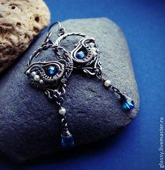 Вариация на тему серег Monteira - витые серьги,серьги с синими камнями