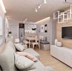 40 cheap apartment decorating ideas 35 - Home Decor Condo Interior Design, Condo Design, Room Interior, House Design, Home Living Room, Apartment Living, Living Room Designs, Small Condo Living, Narrow Living Room
