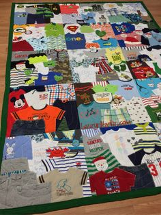 Memory Quilt made with baby clothes by LM  1st Year Quilt