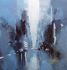 Daniel CASTAN, Manhattan - un matin tôt, 100 x 100, huile sur toile