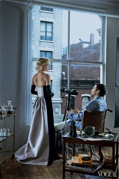 Rear Window: Carolyn Murphy and Tobey Maguire by Peter Lindbergh for Vogue US April 2013