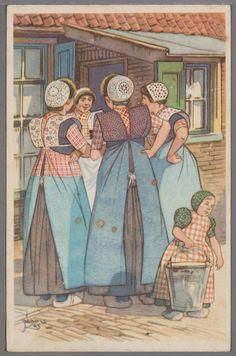 Getekende voorstelling door Jaap V. van vier vrouwen met gehaakte muts, kraplap en (werk)schort en een jongen in de rokken met klapmuts die een emmer tilt voor een huis. 1945