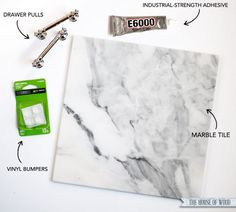 DIY Marble Tray - Inexpensive DIY Decor - a few hardware store finds become something really special Home Crafts, Diy Home Decor, Diy Crafts, Decor Room, Leftover Tile, Marble Tray, Marble Tiles, Subway Tiles, Diy Projects To Try