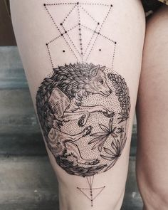 Gray wolf with lupine botanical and geometry for strength! By @freeorgy by tenderfootstudio