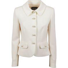 Boutique Moschino Pearly Buttoned Jacket In Beige School Blazer, Thai Design, Sunday Dress, Boutique Moschino, Blazer Outfits, Jacket Buttons, Fur Jacket, Dream Dress, Korean Fashion