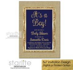 Navy Blue and Gold Baby Shower Invitation - Burlap Gold Glitter Frame CHOICE OF DIGITAL FILE (you print option) OR PRINTED PACKAGE, $20