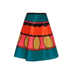 REDValentino Printed A-line taffeta skirt ($630) ❤ liked on Polyvore featuring skirts, multi, red valentino, color block skirt, red valentino skirt, circular skirt and red knee length skirt