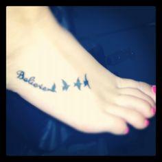Believe foot tattoo