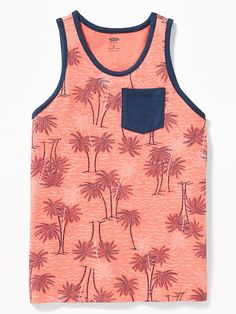 6 Bright Colors Aloha Palm Trees Bright Neon Tank Top