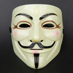 Halloween Cosplay MASK V for VENDETTA Costume Guy Fawkes Fancy Dress Mask Yellow