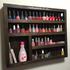 Free plans for building a DIY wood nail polish rack. A rustic display for all of your nail polishes, polish remover and nail tools! Quick and easy project! Storage Rack, Diy Storage, Diy Organization, Bedroom Storage, Organizing Ideas, Furniture Storage, Storage Shelves, Nail Polish Holder, Nail Polish Storage