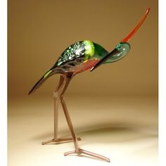 Glass Heron - Blown glass heron figurine