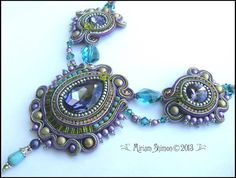 Purple Teal and Olive Soutache necklace by MiriamShimon