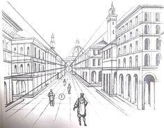 Ponto de fuga: o que dicas + exemplos (com fotos) Sie erhalten eine Perspektive für die Zeit, n mesmo? Perspective Isométrique, 1 Point Perspective Drawing, Chiaroscuro, Landscape Architecture Perspective, Drawing Architecture, City Drawing, Drawing Room, Vanishing Point, Landscape Drawings