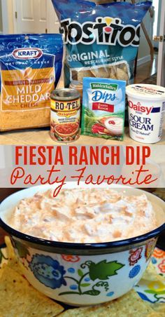 Yummy Appetizers, Appetizers For Party, Easy Appetizer Dips, Easy Appitizer, Quick And Easy Appetizers, Easy Snacks, Fiesta Ranch Dip, Fiesta Dip, Mexican Food Recipes