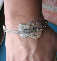 guitar baracelet  silver acoustic by friendlygesture on Etsy, $18.00