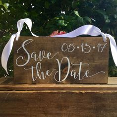 SaVe THe DaTe SiGn - Engagement Photos Sign - PHoTo PRoP SiGn - Calligraphy Lettering - RuSTic WeDDing SiGn - Dark Stain Wood Sign - 15 x 7 by lizzieandcompany on Etsy