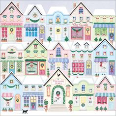 'Christmas Shops' A mini advent calendar. With 100 gsm white envelope. Best Wishes for Christmas and the New Year.