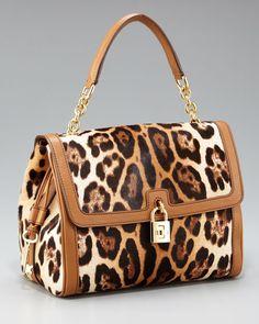 Dolce & Gabbana Dolce Leopard-Print Calf Hair Bag